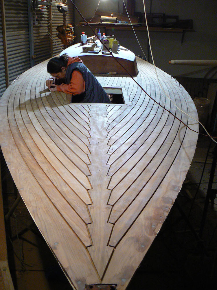 Salana teak deck finishing. A streamlined bow shot