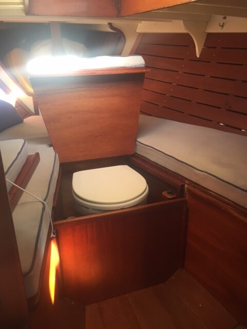 Salana interior heads and forward cabin with varnished interior