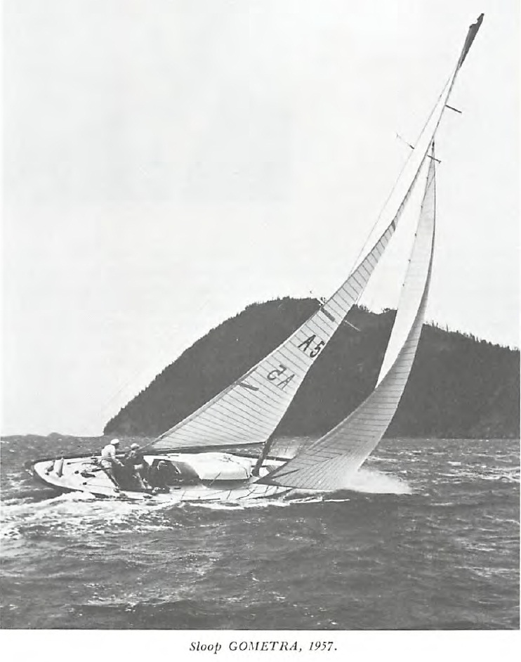 old black and white photo of Gometra sailing