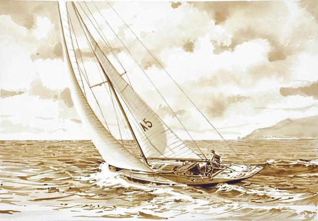 Old drawing of Gometra sailing upwind with mountain scene and little waves